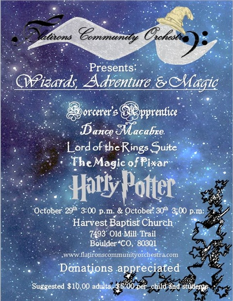 The FCO's fall concerts are October 29th and 30th at Harvest Church